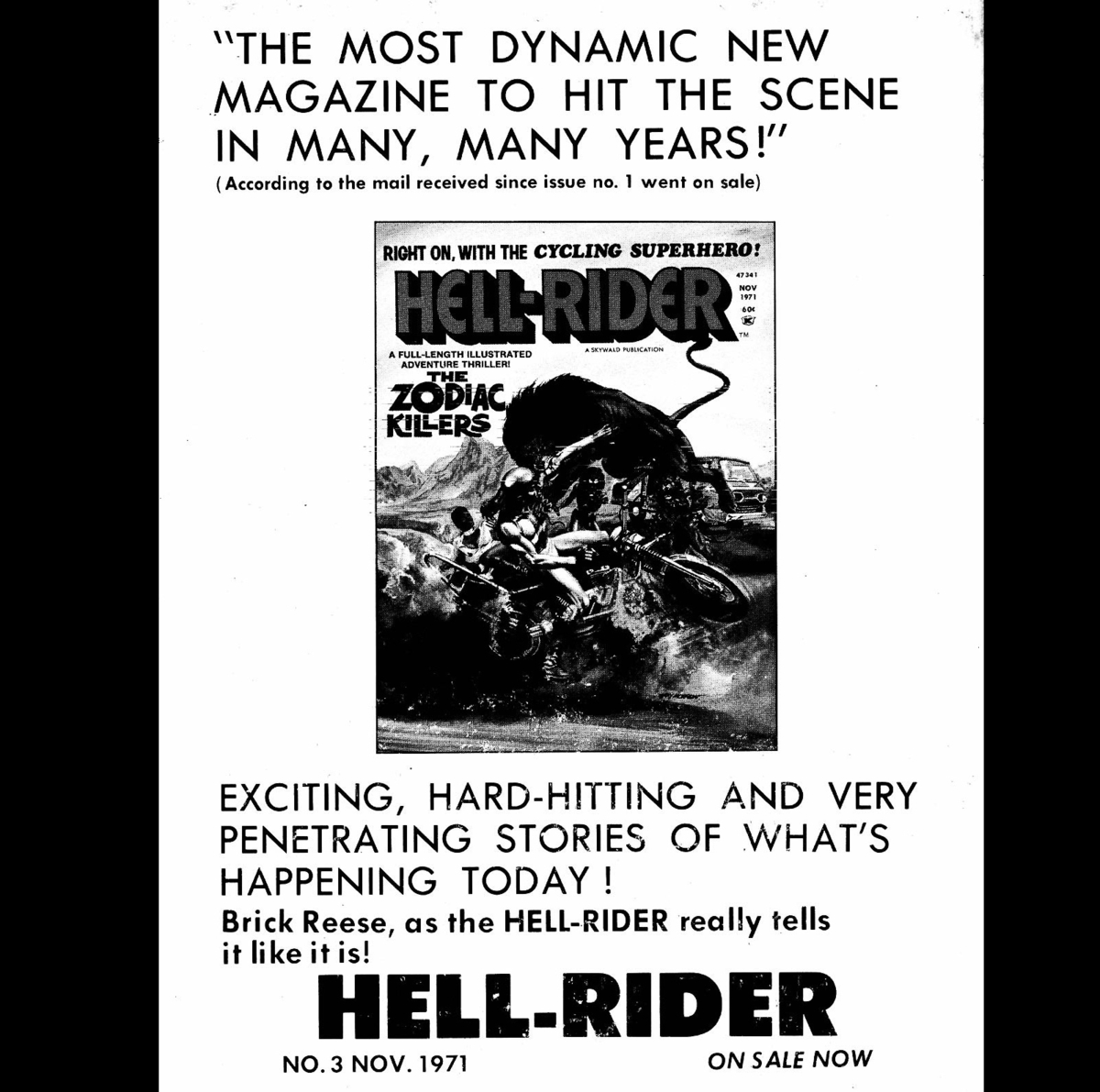 Skywald publications 'Psycho' # 5 Advertisement for 'Hell-Rider' # 3