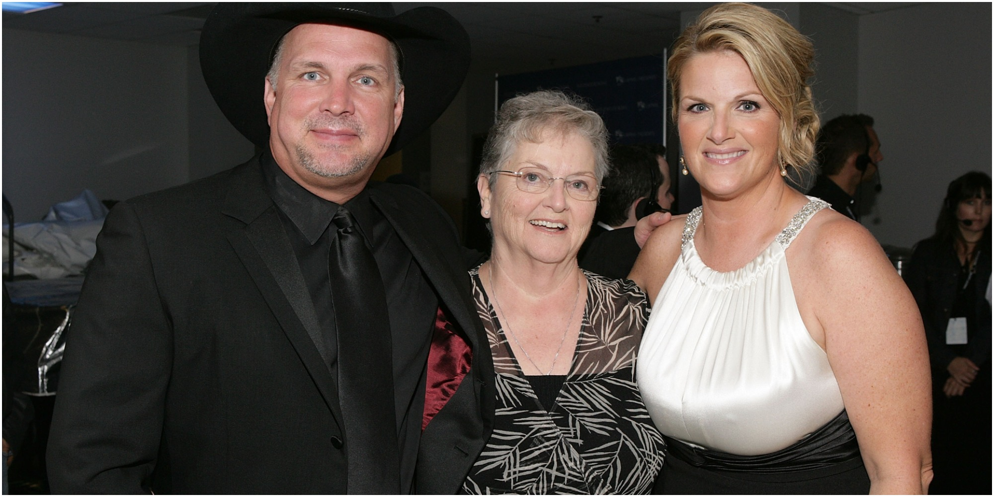Garth Brooks. Gwen Yearwood and Trisha Yearwood pose at a Hollywood Bowl event.