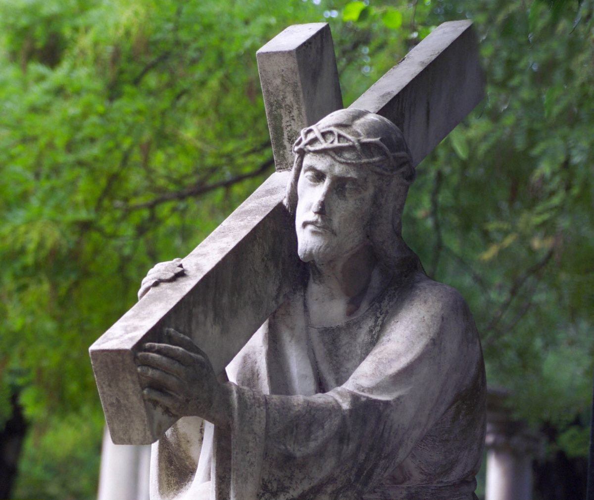 A statue of Jesus Christ carrying his cross