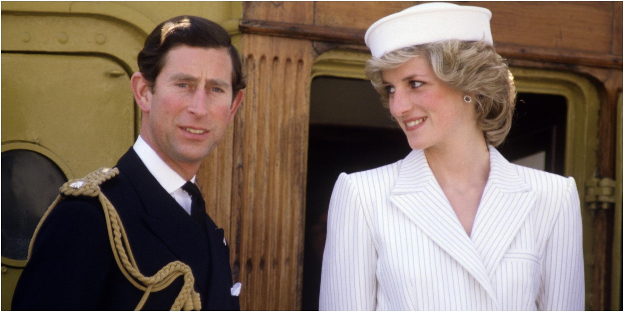 Prince Charles and Princess Diana pose for a photograph.