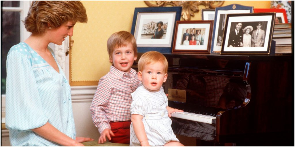 Princess Diana. Prince William and Prince Harry at home in Kensington Palace.