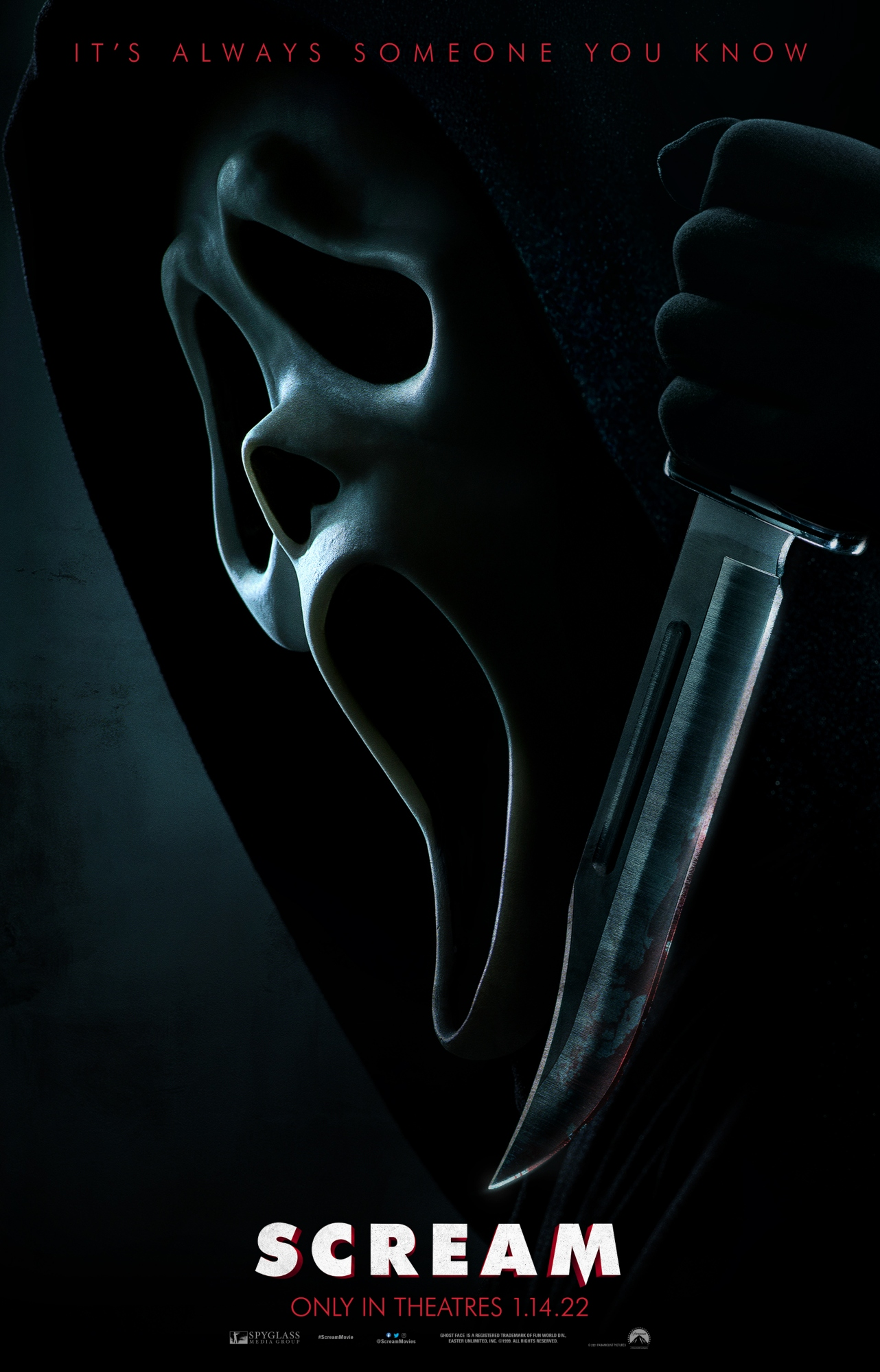 Scream 5 poster featuring a masked cast member as Ghostface